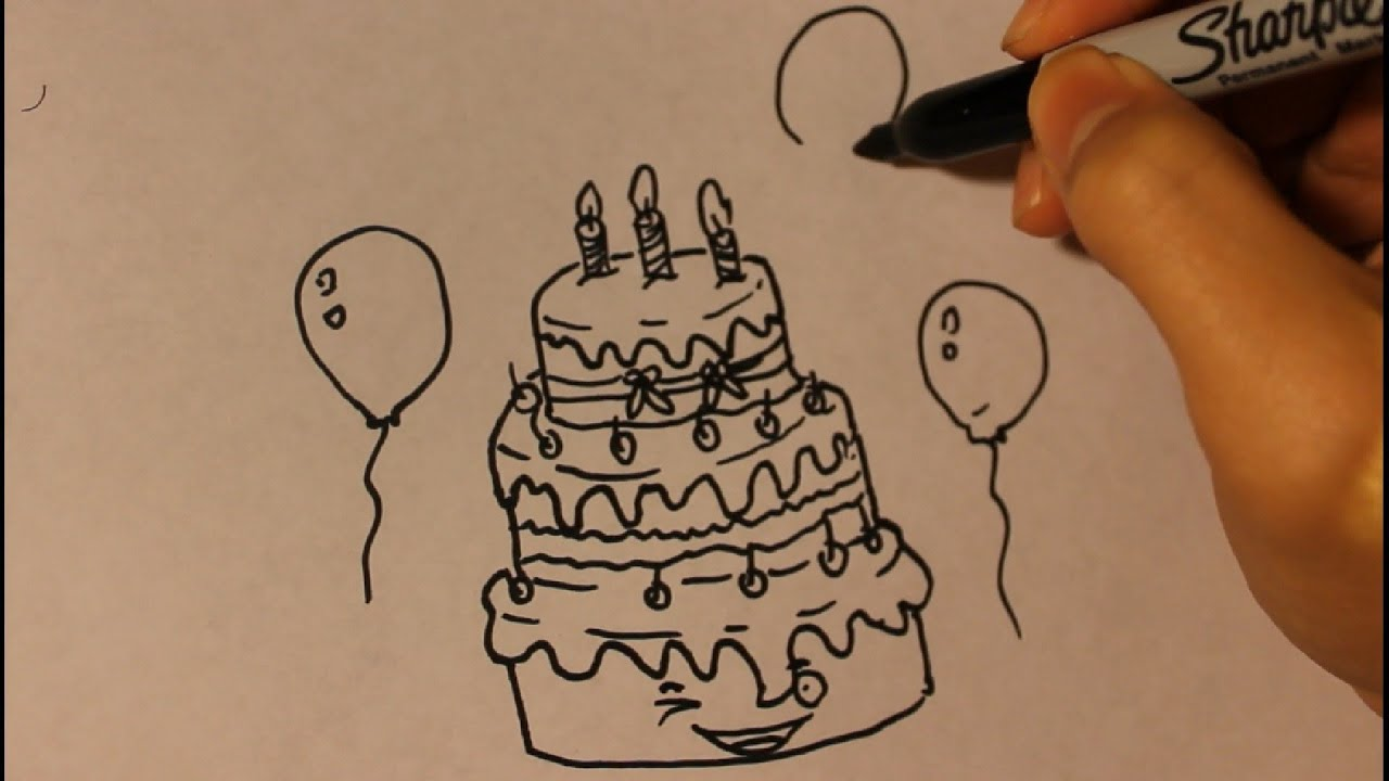 How to draw Cartoon Birthday Cake Step By Step Easy Tutorial Cute