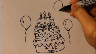 How to draw Cartoon Birthday Cake Step By Step Easy Tutorial| Cute