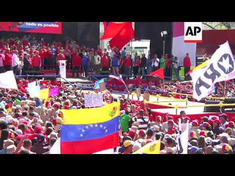 Maduro addresses supporters after registering to run again