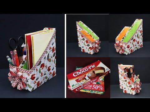 DIY Desk Organizer From Empty Biscuit Box| File Holder/ Magazine Organizer | Best Out of Waste