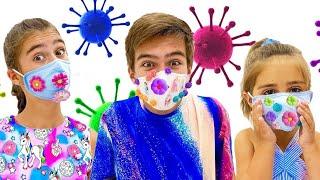 Настя шьёт красивые маски для друзей   Nastya e Mia costuram lindas mascaras para o Artem