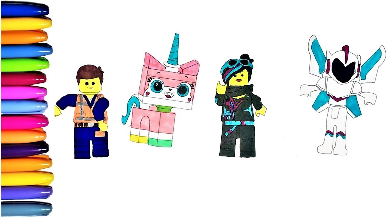 Lego Movie 2 Coloring Pages With Emmet Nya Kitty And Alien Youtube