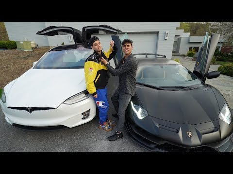 I RACED MY BROTHER FOR $10,000! (Lamborghini Aventador SVJ vs Tesla Model X)