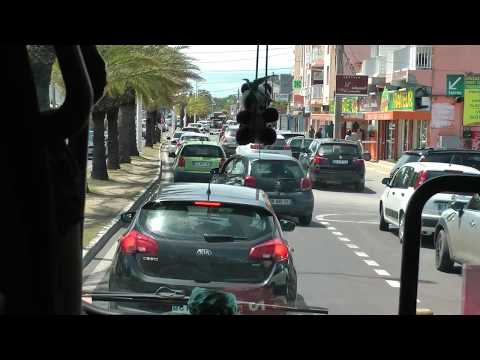driving through Sainte-Anne, Guadeloupe in a narrated Viking sightseeing tour bus