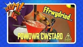 PERYGL! Ffrwydro Cwstard | DANGER! Exploding Custard | Boom! (Welsh Science videos)