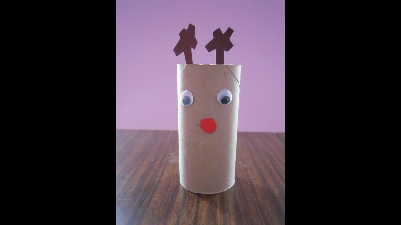 C mo hacer un reno navide o con rollos de papel youtube - Rollos de papel higienico decorados ...