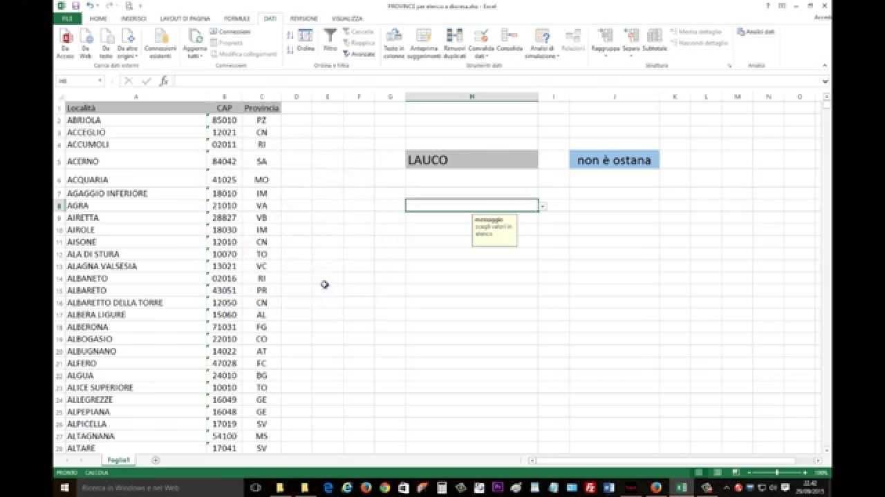 Inserire Calendario In Excel Menu A Tendina.Excel 2013 Creare Un Elenco A Discesa Per Inserire Dati In Cella