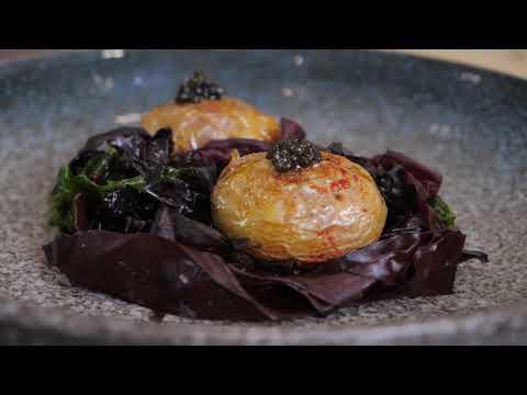 Maribel Restaurant Food Example - Jersey royals, caviar, sea salt & seaweed butter