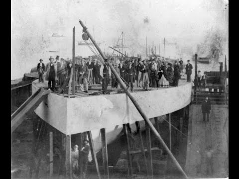 Photographs of the Construction and Launching of the Union Ironclad USS Camanche (1860's)