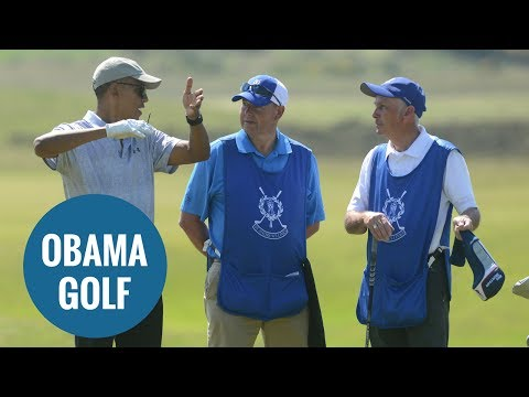 Barack Obama plays the Old Course at St Andrews, Fife, Scotland