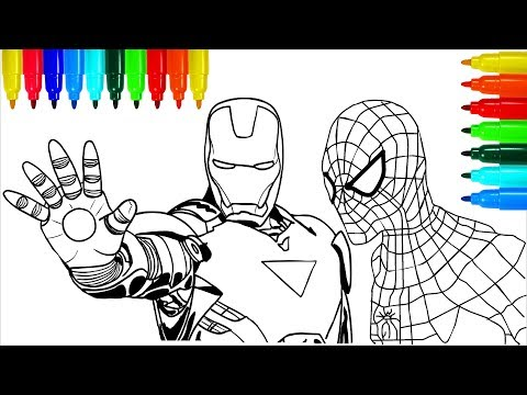 Spiderman Iron Man Marvel Coloring Pages | Colouring Pages for Kids with Colored Markers
