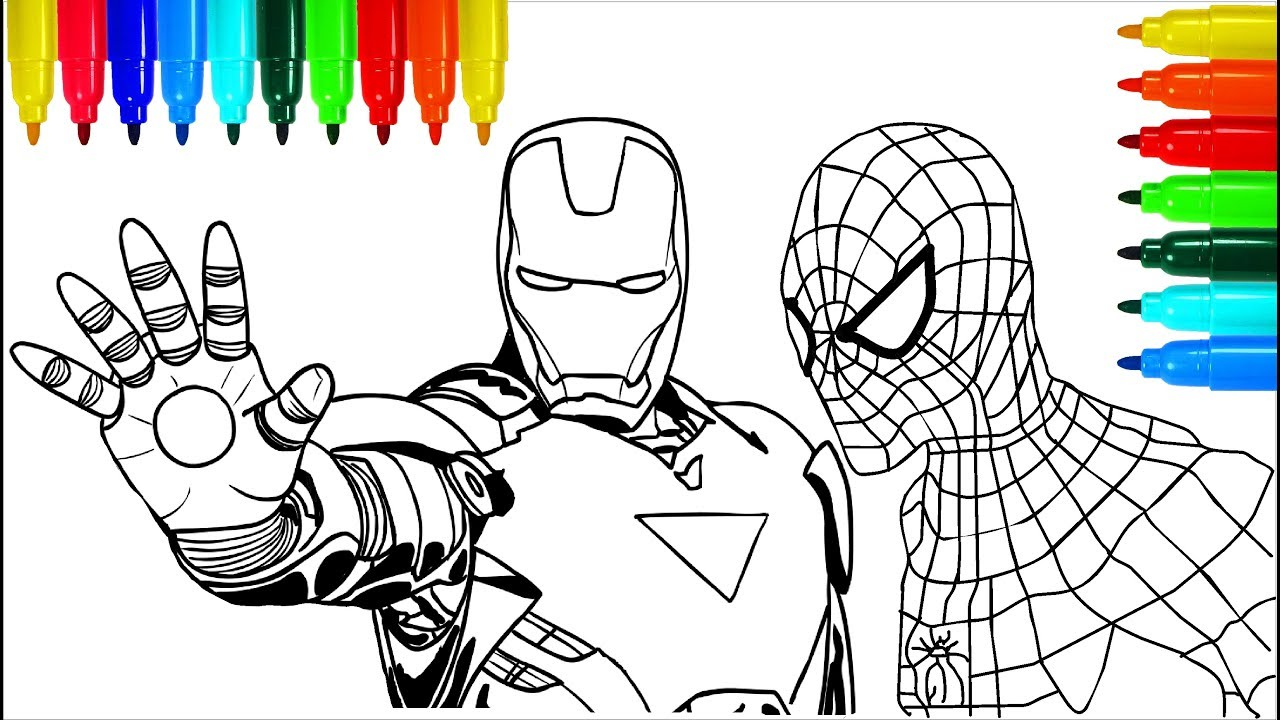 Spiderman Iron Man Marvel Coloring Pages | Colouring Pages for Kids ...