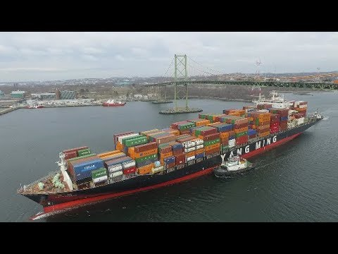 Aerial View of Container Ship YM EXPRESS Inbound Port of Halifax, NS (April 16, 2018)