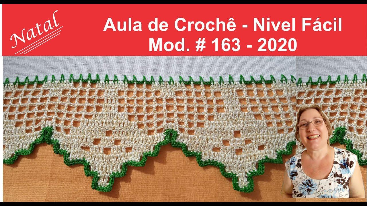 BARRADO EM CROCHE PARA NATAL (2020)🌞 - MOD. #163 - NIVEL MÉDIO - AULA DE CROCHE PASSO A PASSO