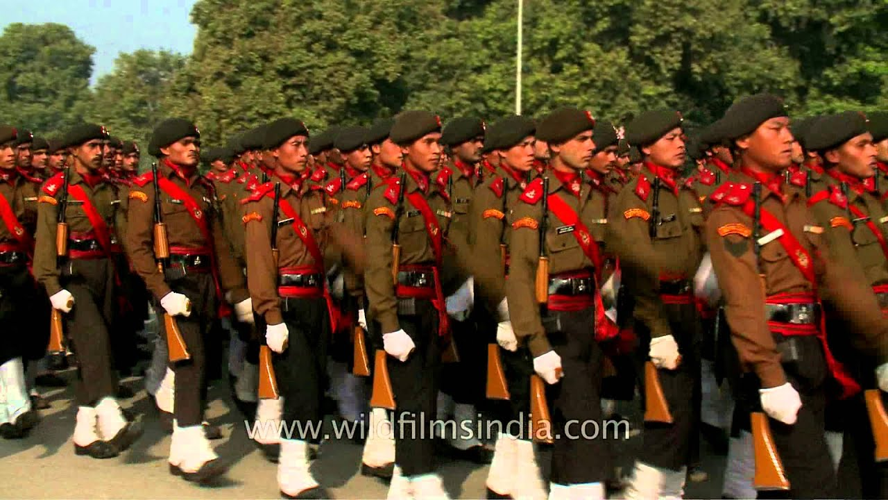 indian army with rifles and full uniform parade during