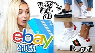 TRYING ON SHOES I BOUGHT ON EBAY UNDER £10!!! 😱 Fake Yeezys!