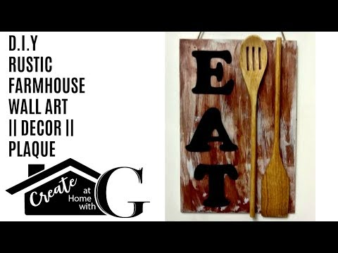 "(£1) Poundland Craft: Farmhouse ""Eat"" Wall Art    Plaque    Decor DIY"