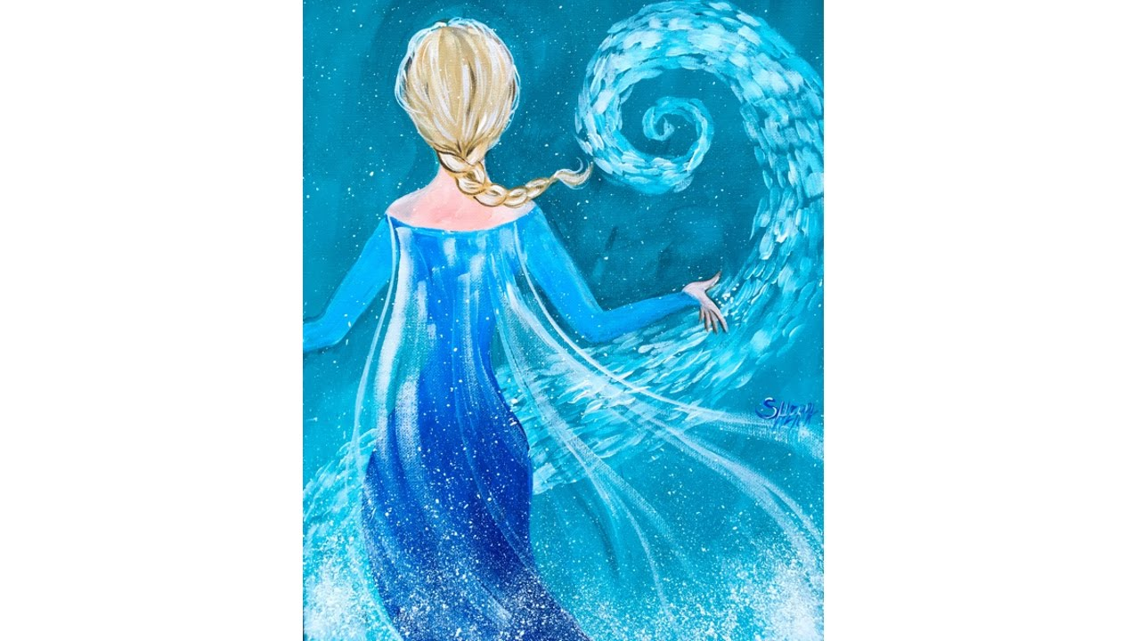 Elsa from frozen tutorial acrylic painting on canvas for for Canvas painting tutorial for beginners