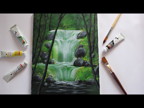 Waterfall acrylic painting for beginners|| Step By Step Waterfall Landscape Painting for Beginners