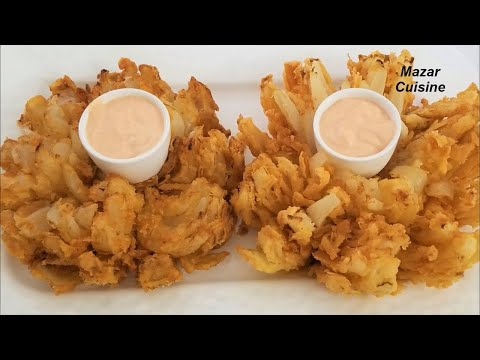 BLOOMING ONION RECIPE,EASY APPETIZERS FOR PARTY PYAZI SNACKS ONION RINGS  SNACKS  ,پیازبریان