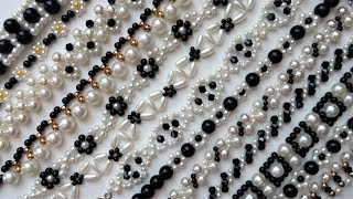 White and black jewelry design. How to make jewelry with beads.Beading patterns