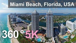 Miami Beach, Florida, USA. Aerial 360 video in 5K