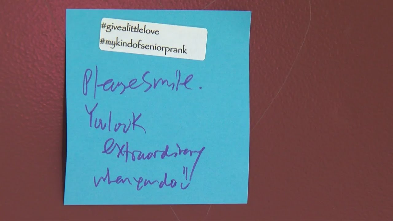 seniors prank students at new prague h s with kind messages youtube