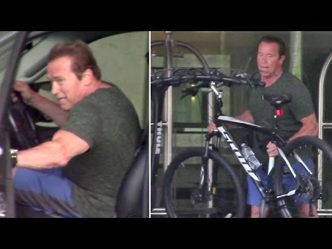 Arnold Schwarzenegger Looking Beat After Biking In Santa Monica