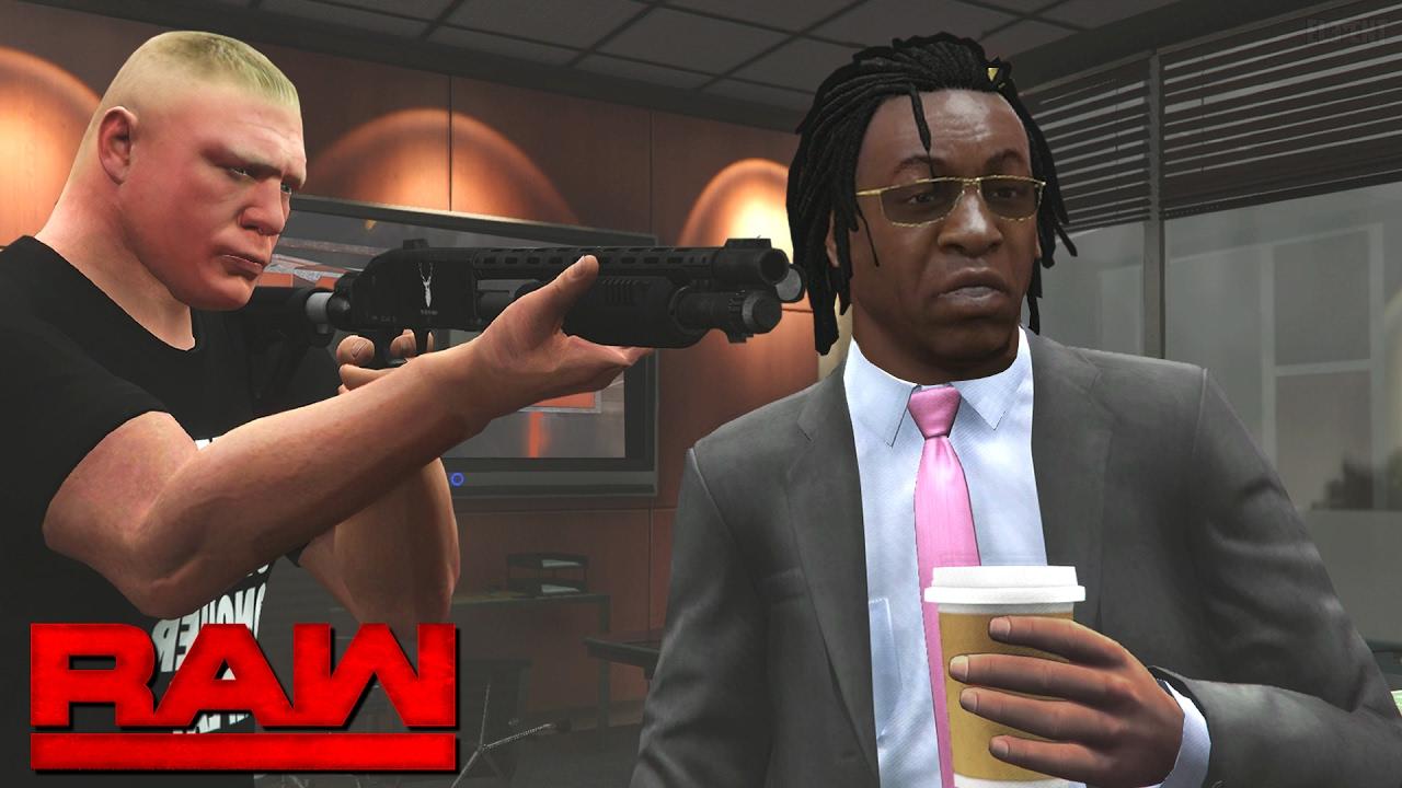 Download WWE RAW 2K17 Story - Brock Lesnar Intimidates The GM 💥 | 02/06/17 (WWE GTA MODS)