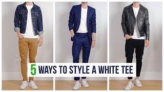 5 Easy Ways to Style a White T-Shirt | Men's Spring Fashion | OneDapperStreet