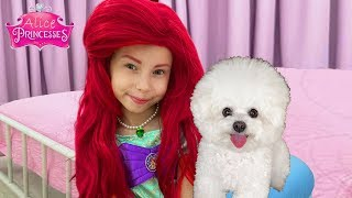 Alice Pretend to be a real little mermaid and Play with Princess Puppy
