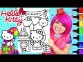 Coloring Hello Kitty Birthday Coloring Book Page Prismacolor Colored Paint Markers | KiMMi THE CLOWN