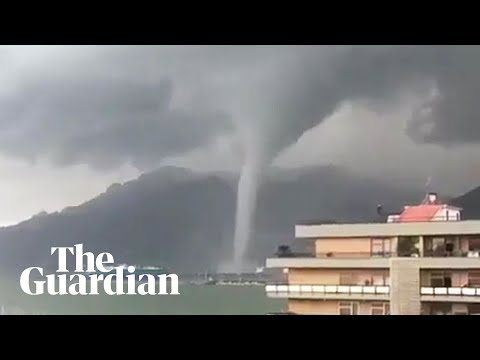 Dramatic waterspout forms off Italian port city
