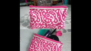 DIY No Sew Makeup Bag with Zipper || Glued, Fabric and Zipper || Its makeover tym