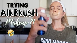 TRYING AIRBRUSH MAKEUP FOR THE FIRST TIME + Brutal Leg Workout!!