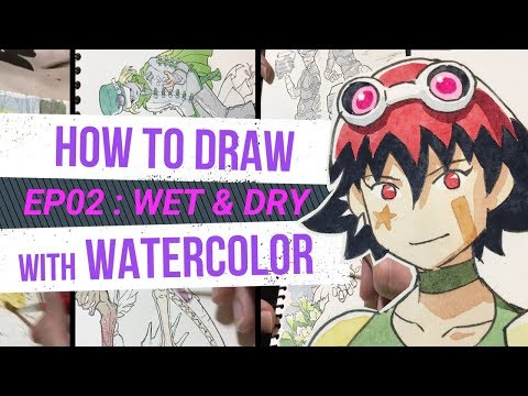 HOW TO DRAW with WATERCOLOR - for beginners - WET & DRY