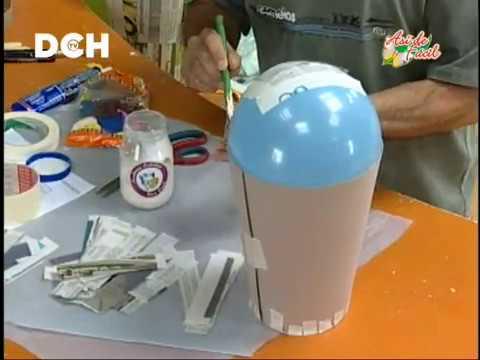 Jarr n realizado con t cnica de cartapesta 1 parte - Como hacer jarrones de papel ...