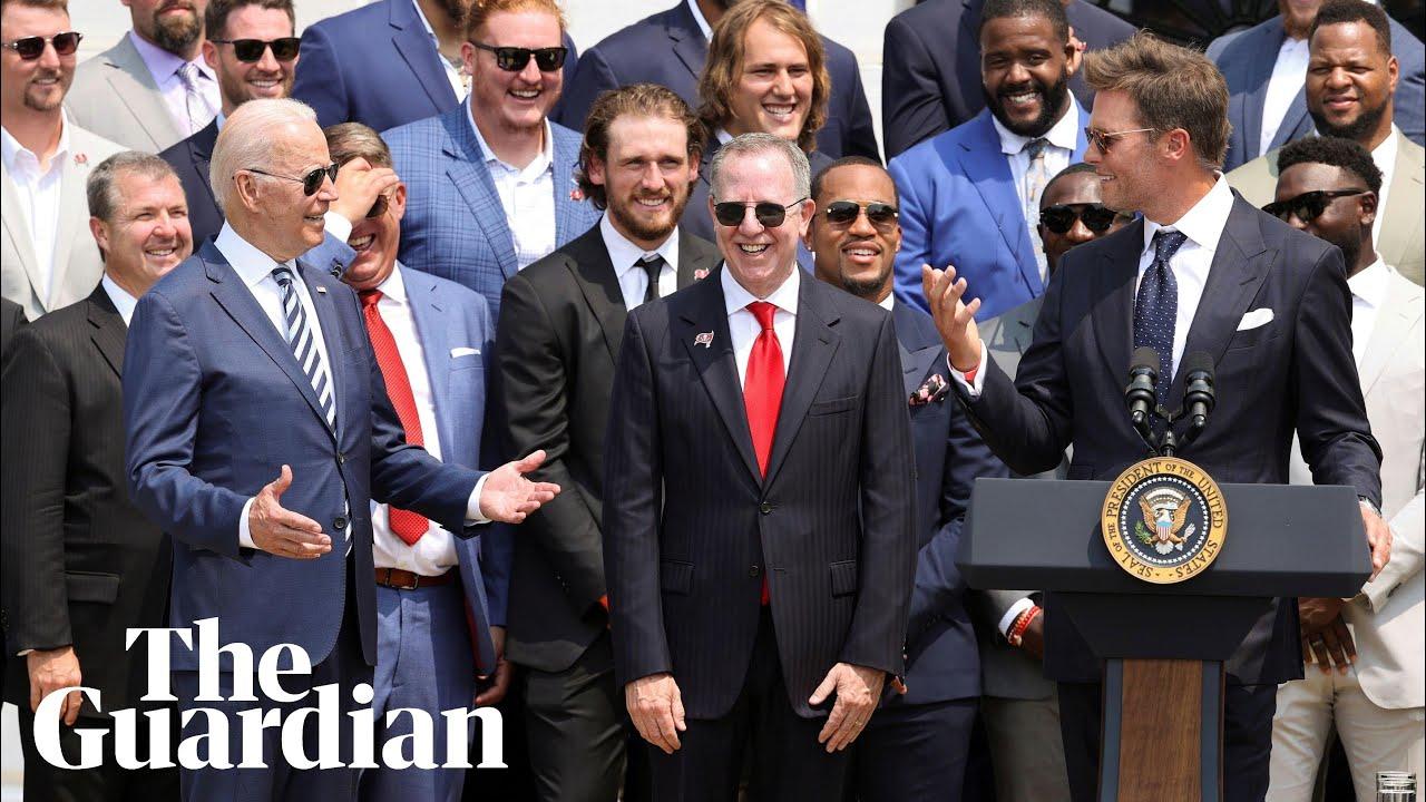 Tom Brady jokes with Biden at White House about Trump's false ...