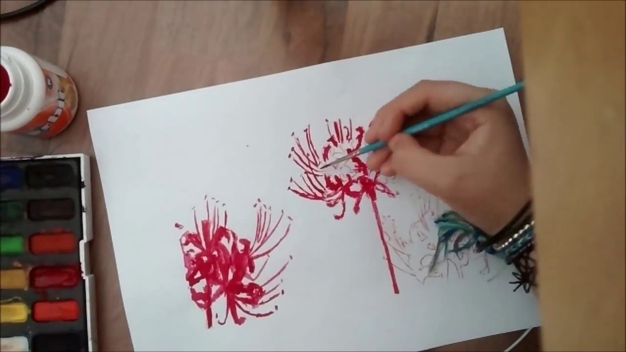 Red Lily Spider Painting