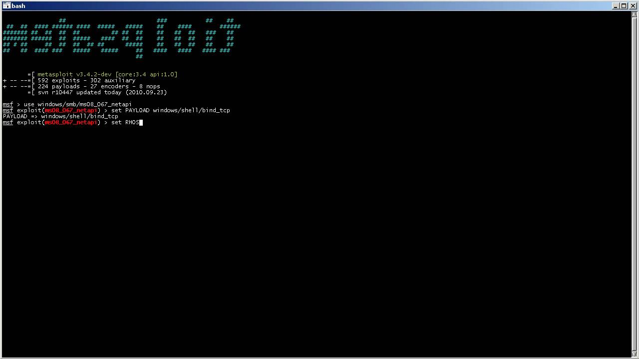 Metasploit - windows/shell/bind_tcp (ms08_067_netapi)