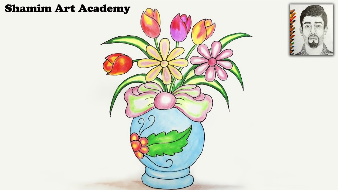 168 & How to draw Beautiful Flower Vase step by step (very easy)