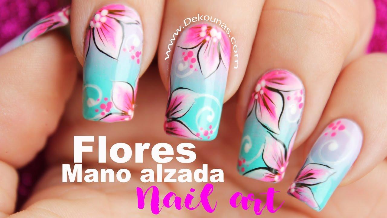 Decoración De Uñas Flores Mano Alzada One Stroke Flowers Nails