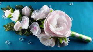 Bridal bouquet: hairpins-flowers/Ramo de boda: flores-barrettes/Букет невесты: цветы-заколки.МК