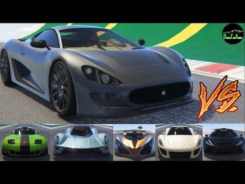 GTA 5 Top Speed Drag Race (Ocelot XA-21 vs. X80, Vagner, T20, 811, Banshee, Itali GTB, Zentorno)