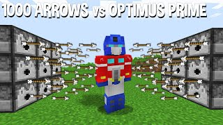 Unreal Battle OPTIMUS PRIME TRANSFORMER Vs 1000 ARROWS In Minecraft Experiment !!!
