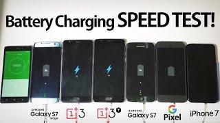 OnePlus 3T & 3 vs Galaxy S7 & S7 Edge vs Google Pixel vs iPhone 7 - Battery Charging Speed Test!