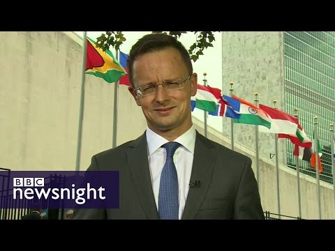 Evan Davis quizzes Hungary's FM on UK's 'no-go zones' - BBC Newsnight