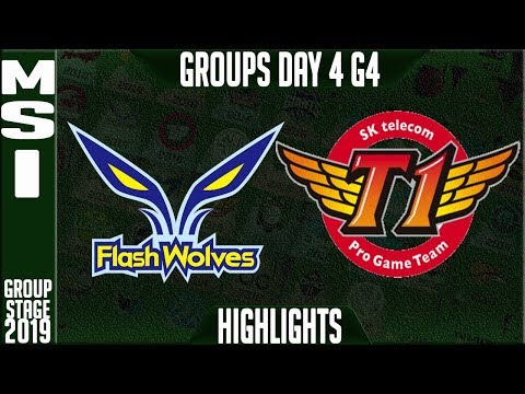 FW vs SKT Highlights | MSI 2019 Group Stage Day 4 | Flash Wolves vs SK Telecom T1