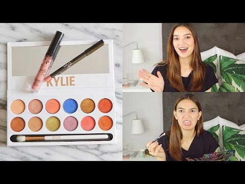 kylie cosmetics unboxing + first impressions!  royal peach palette & candy k lip kit