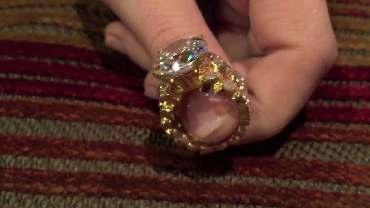 10 Carat Round Cubic Zirconia Engagement Ring 14k Yellow Gold Eternity Style Shank Youtube